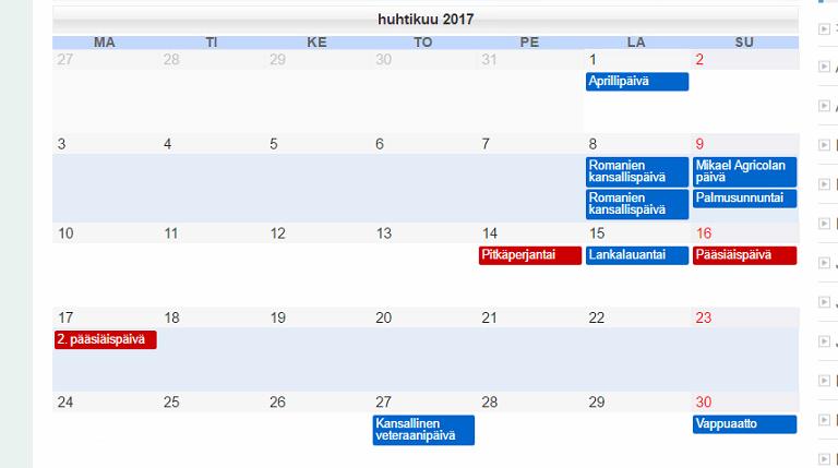 Kalender: Pühad Soomes 2017